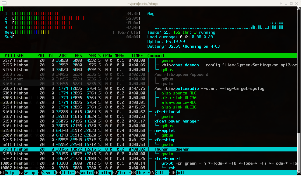 htop in use